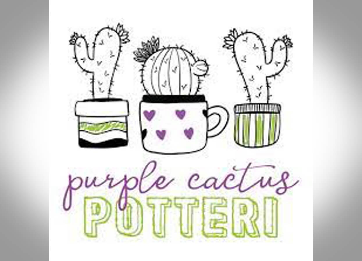Showing the logo for Purple Cactus Potteri.