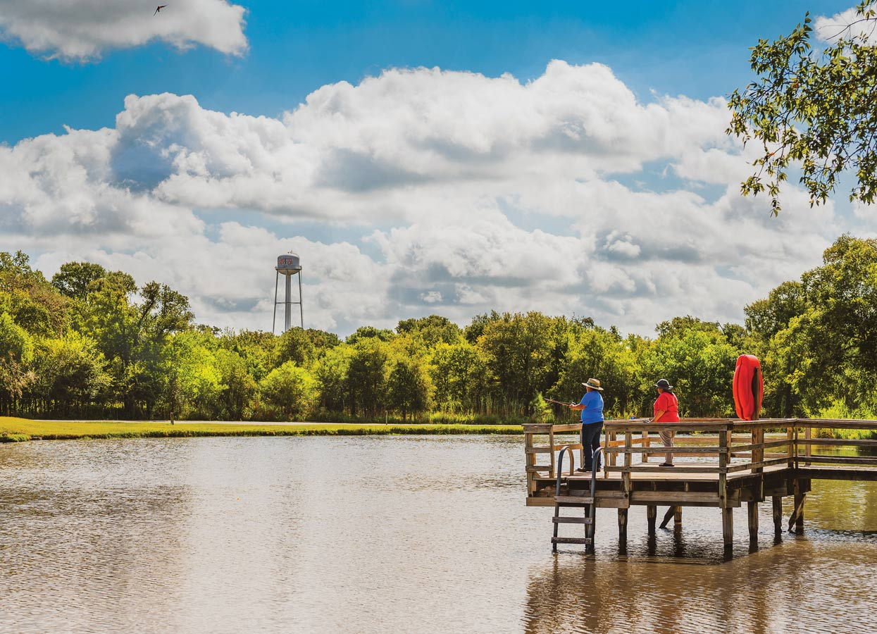 Showing a dock on a river in Palmetto State Park.